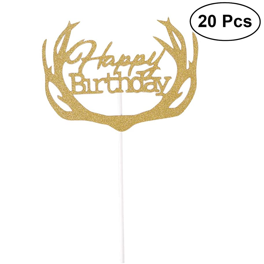20 Pcs Glitter Paper Cake Insertion Card Cake Cupcake Toppers Decoration Birthday Wedding Halloween Party Favors Supplies with Paper Stick and Dispensing Glue-SR005(Golden)