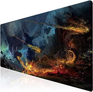 Imegny Extended Gaming Mouse Pad, Portable Keyboard & Mouse Mat with Stitched Edges + Non-Slip Rubber Base (type4 35.415.7Inch, firedragon019)