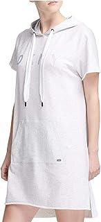 DKNY Sport Women's Logo Hooded Sweatshirt Dress, Light Grey