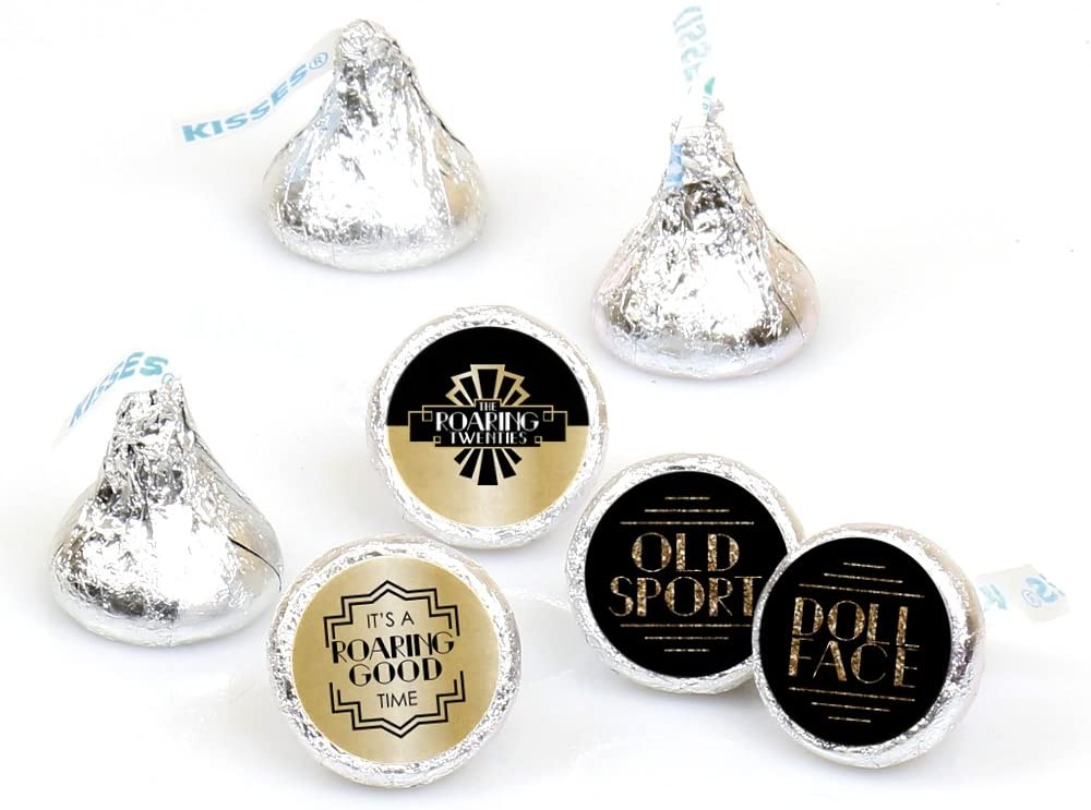 Big Dot of Happiness Roaring 20's - 1920s Art Deco Jazz Party Round Candy Sticker Favors - Labels Fit Hershey's Kisses (1 Sheet of 108)