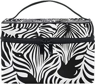 MOFEIYUE Travel Makeup Bag Animal Zebra Print Portable Cosmetic Case Organizer Toiletry Bag Pouch Makeup Train Case for Women Girls