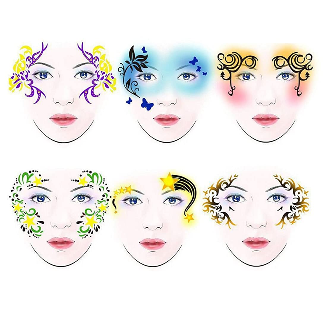 SoarUp Face Paint Stencils, 7styles/set Reusable Body Painting Template Flower Butterfly Facial Design Perfect for Parties, Christmas, Halloween, Carnivals, School & Church Events