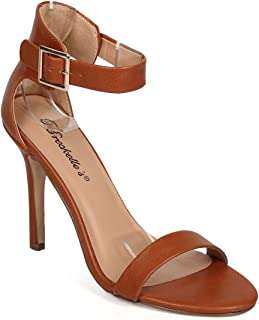Breckelle's Women Leatherette Open Toe Ankle Strap Single Band Stiletto Sandal