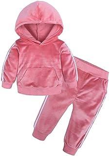 مجموعة ملابس رياضية بقلنسوة مخملية للأطفال الأولاد والبنات