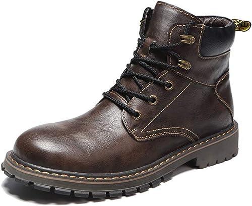 ChengxiO [Delgado Algodón Opcional] Nuevos zapatos Casuales botas para Hombre botas Martin botas para Hombre Moda británica Alta para Ayudar botas para la Nieve Hombre