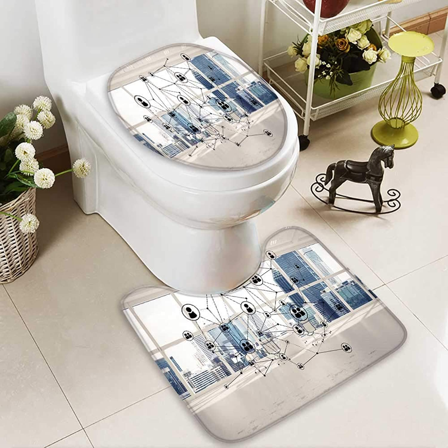 Analisahome Cushion Non-Slip Toilet Mat Networking Wireless Connection as Concept Effective Mode Soft Non-Slip Water