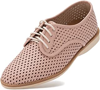 cc24f8098619ec Rollie Women s Lightweight Derby Punch Perforated Lace-Up Flat Shoe with  Diamond Shaped Holes for