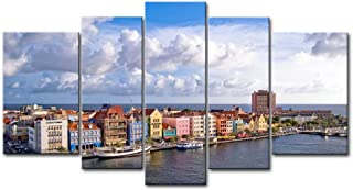So Crazy Art Blue 5 Piece Wall Art Painting Curacao With Colorful House Prints On Canvas The Picture City Pictures Oil For Home Modern Decoration Print Decor For Decor Gifts
