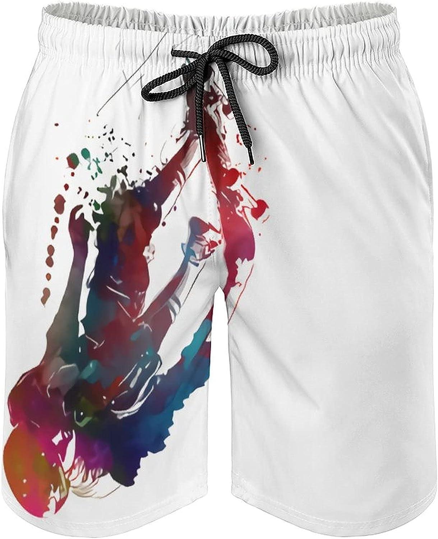 B&MAVIS Skateboard Sport Design Men's Summer Quick Dry Swim Trunks Casual Board Shorts Beachwear for Boys Men