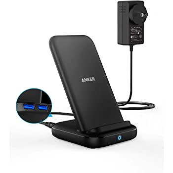 Anker 3-in-1 Multi-Device Wireless Charging Station, PowerWave 10 Stand with 2 USB-A Ports, for iPhone 11, 11 Pro, XS Max, XR, XS, X, 8, 8 Plus, Galaxy S20, S10, S9, S8, 36W Power Supply Included