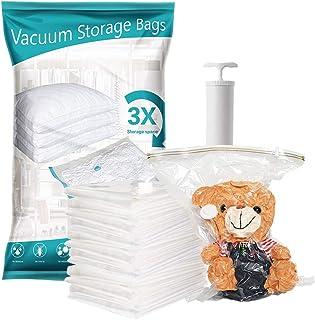 Premium Heavy Duty Space saver vacuum storage sealed bag with free pump. Pack of 8 (3x Jumbo 2x Large 3x Medium) Reusable ...