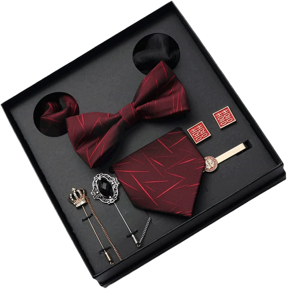 XJJZS New Men Tie Set 8CM Dress Necktie Bowtie Corsage Pocket Square and Ties Clip Gift Box for Business Wedding (Color : A)