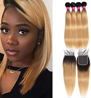 Peruvian Silky Straight 4 Bundles with 4x4 Lace Hair Closure Ombre Blonde 1b/27# Dark Root Honey Blonde 50g/Bundle Virgin Human Hair Lace Frontal Closure(10 10 12 12+10closure)