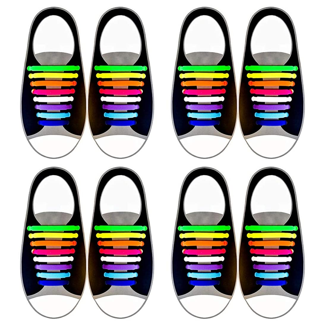 Herdro 4 Pack No Tie Shoelaces for Kids and Adults, Waterproof Silicone Flat Elastic Athletic Sport Shoe Laces for Sneakers Board Shoes (Multicolor) tcxv218802656873