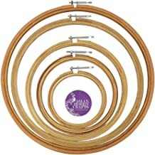 """Asian Hobby Crafts Wooden Embroidery Hoop Ring Frame with Iron Key : Set of 5pcs : Size 5, 7, 9, 12, 14"""" Inches"""