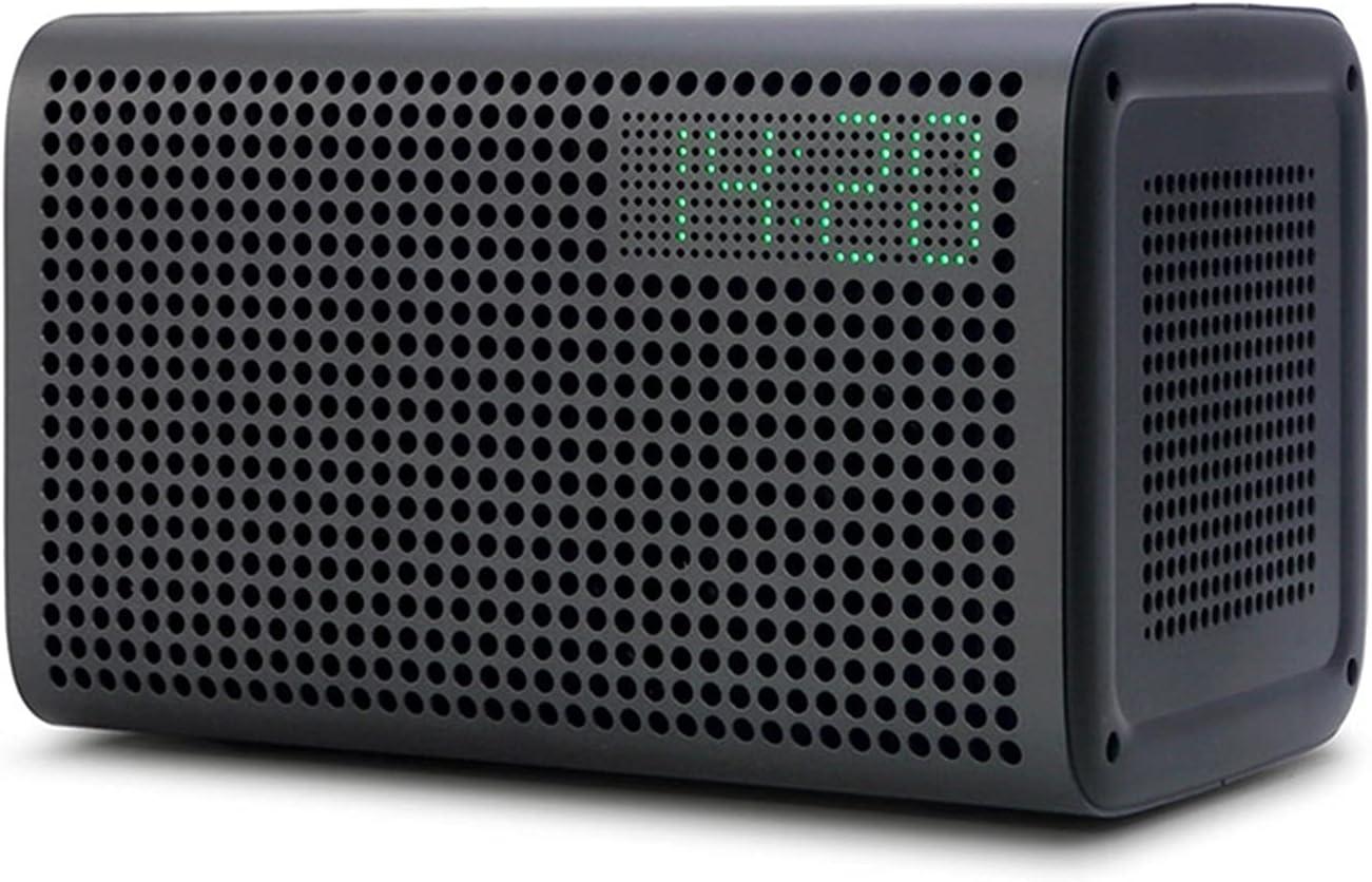 JCMYSH Altavoz portátil Altavoz Bluetooth WiFi Speaker inalámbrico Bluetoth Alexa Soporte de Altavoz DLNA con Reloj Despertador para el hogar, Fiesta, Viaje. (Color : Black)