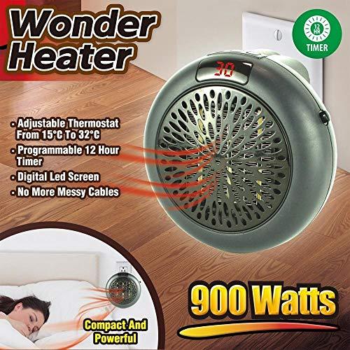 Trade Shop Traesio Stufa Elettrica Portatile, Wonder Heater Portatile Regolabile da 15° a 32°C, 900W