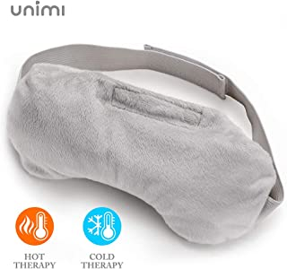 Unimi Lavender Eye Pillow, Aromatherapy Eye Mask for Dry Eyes, Weighted Sleep Mask for Men & Women, Hot Therapy Eye Cover for Yoga, Headache, Puffy Eyes, Migraine Relief, Sinus Pain