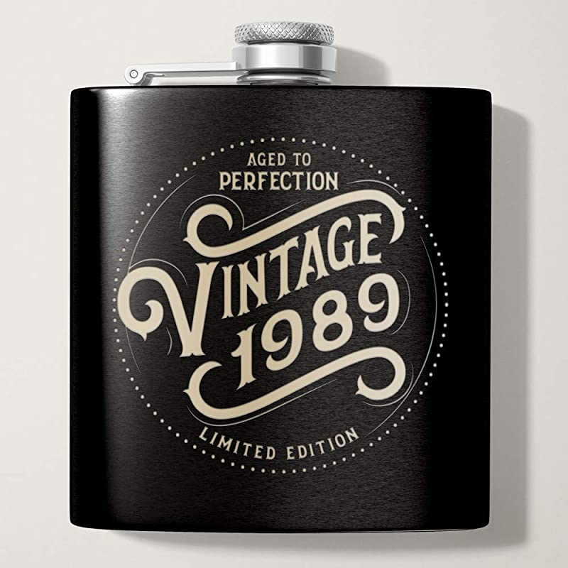 1989 30th Birthday Gifts For Men Black 6 Oz Stainless Hip Flask 30 Year Old Presents Dad Husband Brother Uncle Grandpa Boyfriend Friend Present Party Decorations Supplies Liquor Flasks Gift Th