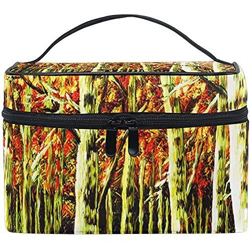 Reistas met gouden boslandschappen met draagbare multifunctionele tas met ritssluiting voor toilettas.