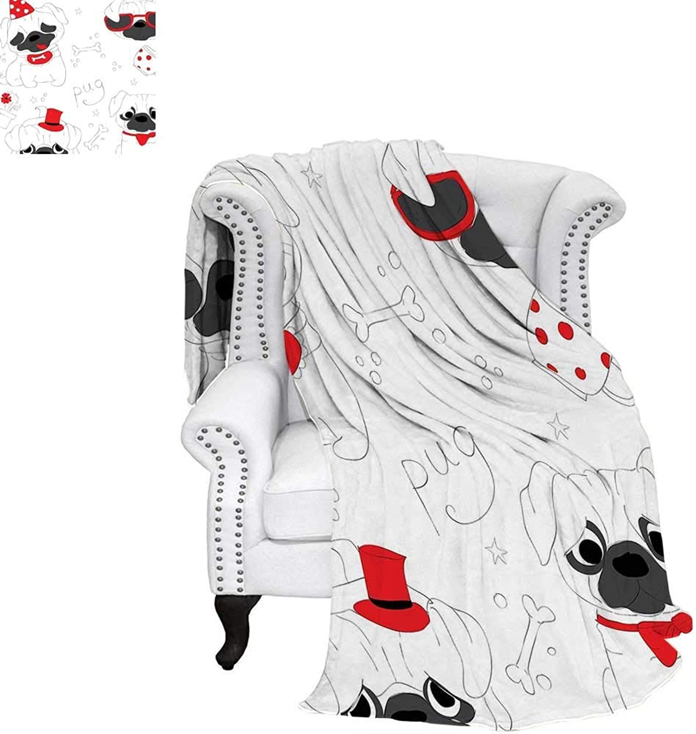 CHASOEA Pug Velvet Plush Throw Blanket Dogs in Various States Sad Happy Cool Excited Dog Bone Dotted Mug Caricature Style Weave Pattern Blanket 62 x60  Black Red White