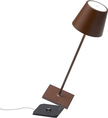 Zafferano Poldina Pro - Lampe de table LED à intensité variable en aluminium, Protection IP54, Utilisation intérieure/extérieure, Base de chargement par contact, H38cm, Prise UE - Corten