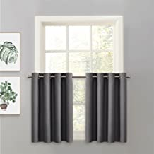 PONY DANCE Kitchen Window Curtains - Short Tier Curtain Panel for Small Windows Home Decoration Grommet Top, 52 W x 36 inches L, Grey, 1 Piece
