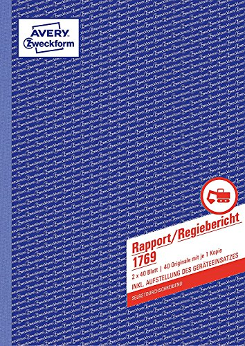 AVERY Zweckform 1769 Rapport/Regiebericht (A4, selbstdurchschreibend, 2x40 Blatt) weiß/gelb (5er Pack | DIN A4)