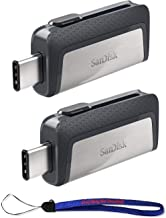 SanDisk Ultra (Two Pack) Dual Drive USB Type-C (SDDDC2-064G-G46) with Everything But Stromboli (TM) Lanyard