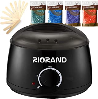 RioRand wax warmer hair removal kit with hard wax beans and applicator sticks, black