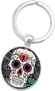 Fan-Ling Skeleton Skull Time Gemstone Gem Metal Key Holder, Keychain,Key Ring, Key Chains,Cell Phone Chain,Halloween Pendant,Bag Pendant Car Accessory,Mystic Decor Ornaments (E)