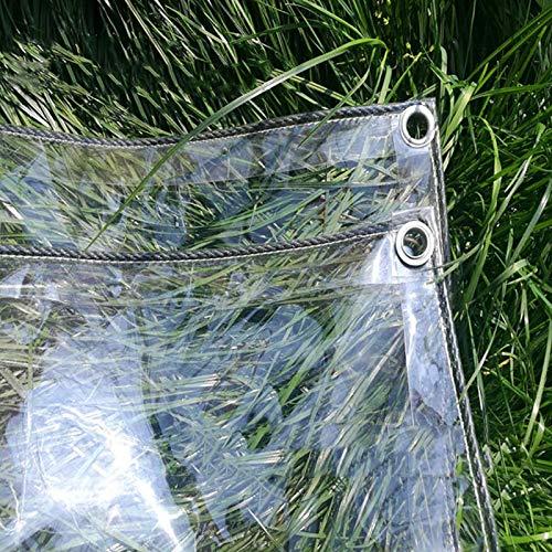 Lona Transparente Impermeable con Ojales,Material de PVC Plegable,Toldos Prueba de Viento a Polvo,,Tela de Plástico,Coverup para uso en Exteriores,420g/?,Tamaño personalizable (0.9x1.4m/3x4.6ft)