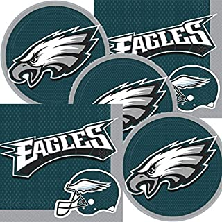 Philadelphia Eagles NFL Football Team Logo Plates And Napkins Serves 16