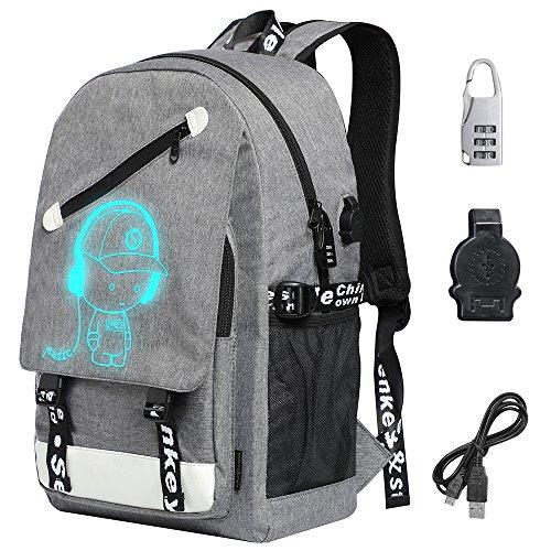 Schulrucksack Jungen Kinderrucksack Mädchen Rucksack Kinder Laptop Schultasche Jungs Schulrucksäcke mit USB Kabel + Zahlenschloss + Fluoreszierende Marke