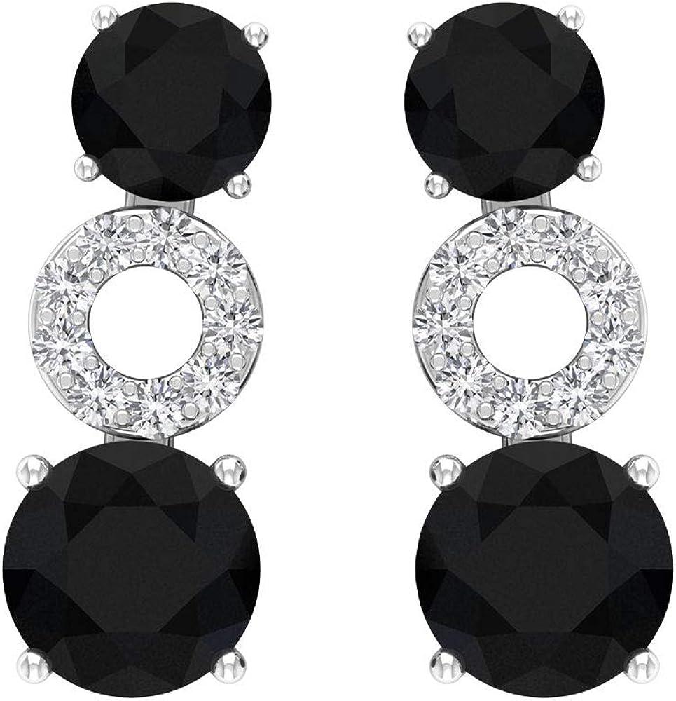 Black Diamond Climber Earring, HI-SI 3/4 CT Diamond Cartilage Earring, Cocktail Wedding Earring, Bridesmaid Ear Cuffs, Partywear Crawler Earring, Screw back