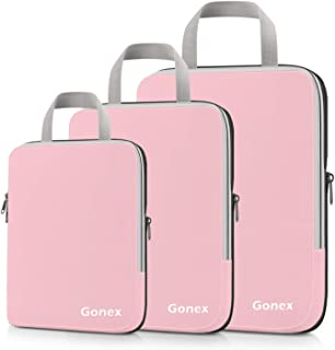 Compression Packing Cubes, Gonex Travel Organizers Upgraded 3PCS L+M+S, Pink (Pink) - Gonex-GXGN0086J