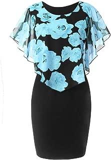 TnaIolral Women Dresses Casual Plus Size Rose Print Chiffon O-Neck Ruffles Mini Skirt