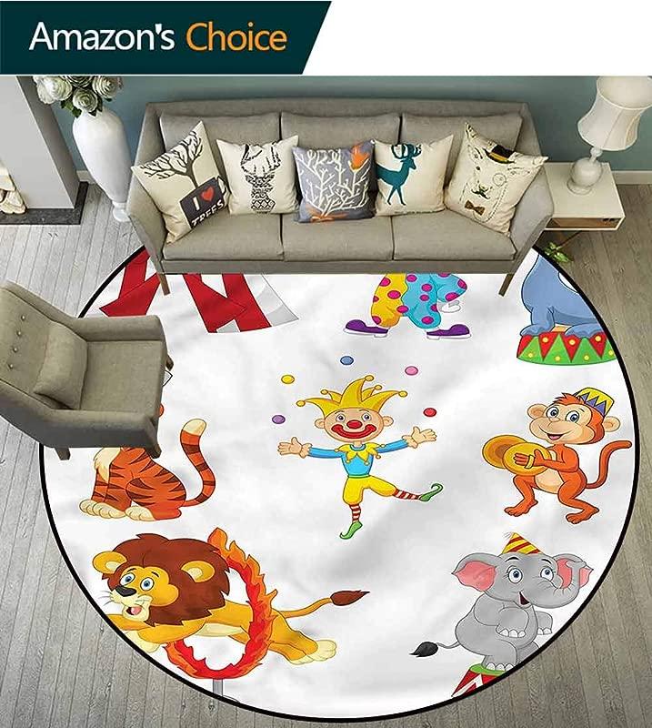 RUGSMAT Circus Modern Machine Washable Round Bath Mat Circus Wild Animals Home Decor Foor Carpet Diameter 59