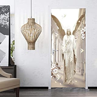 Zffmss 3D Door Sticker Self-Adhesive Stereo Stone Carving Angel Wings Dove Wallpaper Living Room Study Creative DIY Wall Stickers 30.3
