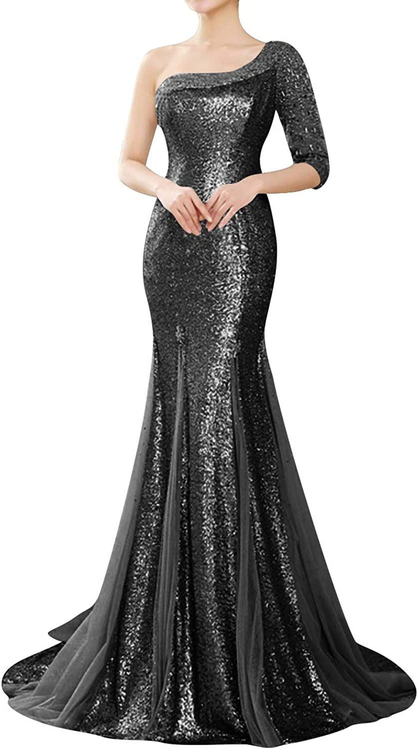 Uther Evening Dress Mermaid One Shoulder Sequins Beading Long Party Prom Gown