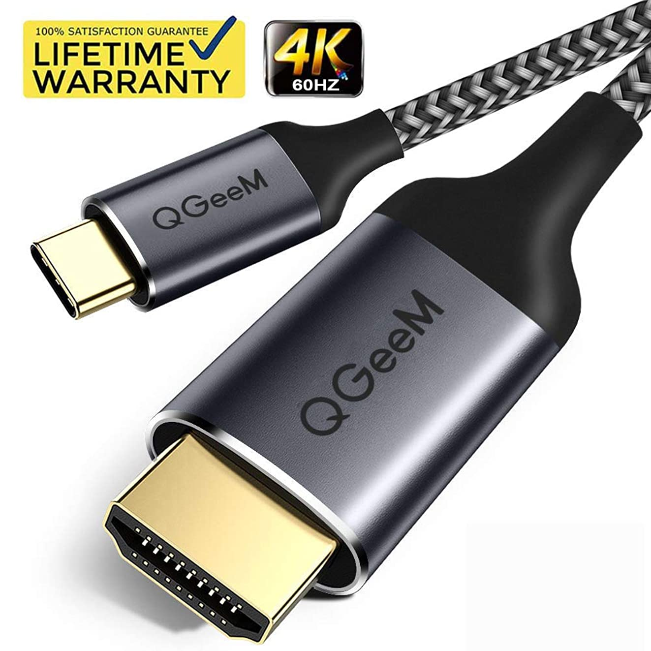 USB C to HDMI Cable Adapter, QGeeM 6ft Braided 4K@60Hz Cable Adapter(Thunderbolt 3 Compatible) for iPad Pro,MacBook Pro 2018 iMac, ChromeBook Pixel, Galaxy S9 Note9 S8 Surface Book hdmi USB-c