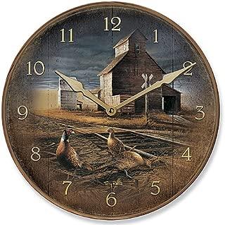 Wild Wings Prairie Skyline - Pheasant Round Clock by Terry Redlin