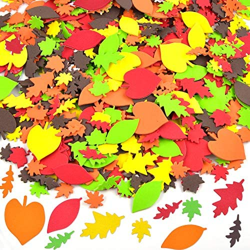 Coopay 900 Pieces Fall Leaf Stickers Thanksgiving Adhesive Foam Maple Leaves Stickers Assorted product image
