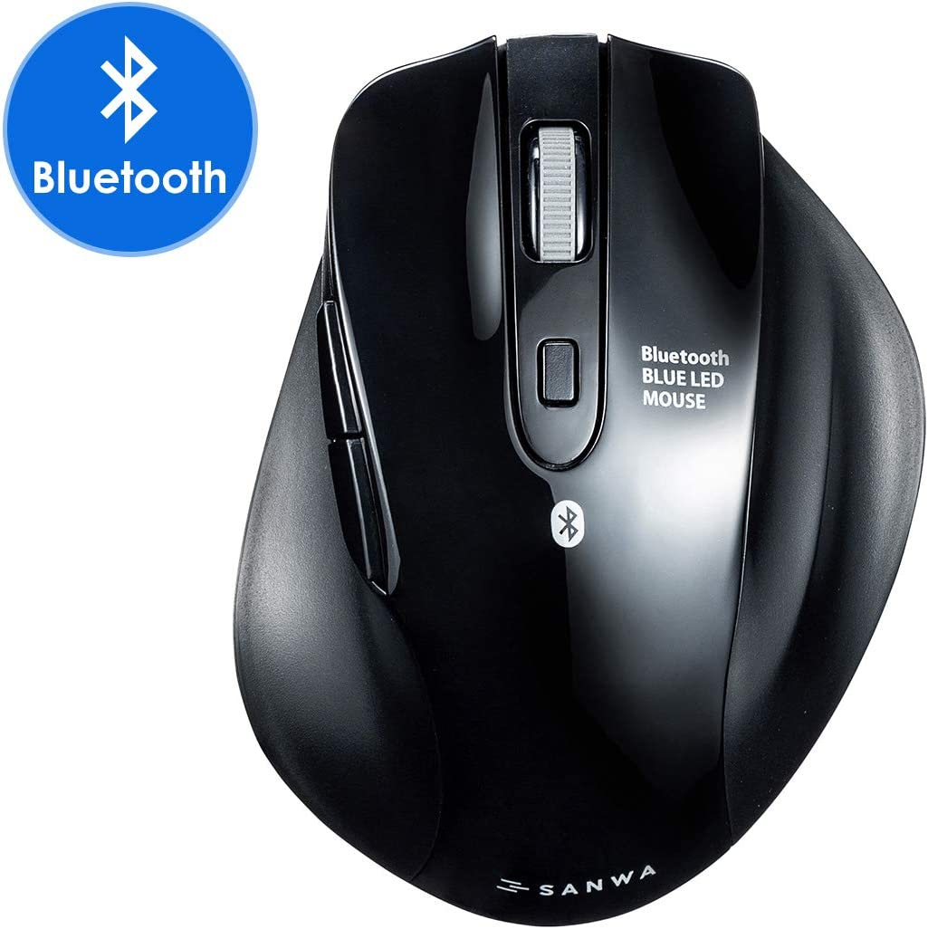 SANWA (Japan Brand) Bluetooth Vertical Ergonomic Mouse, Silent Noiseless Blue LED Optical Computer Mice, (800/1200/1600/2400 DPI, 6 Buttons) for MacBook, Laptop, Compatible with Windows Android iOS13