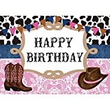 Allenjoy 7X5ft West Cowboy Cowgirl Theme Birthday Party Backdrop Wild West Rodeo Cowboy Photography Background Cow Bunting Kids Party Invitation Decoration Cake Table Banner Photobooth Studio Props
