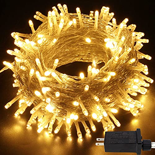 95ft 240LED String Lights Outdoor, 8 Modes Waterproof Clear Wire Fairy String Lights Indoor/Outdoor, Decoration Lights for Room, Patio, Ramadan, Wedding (Warm White)