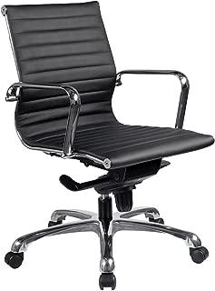 OfficeSource Nova Series Mid-Back Modern Office Chair, Black LeatherTek