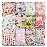 LittleBloom Pañal de tela reutilizable, de bolsilllo, cierre:Velcro, juego de 12, varios estampados diseños 1201 Talla:12 pañales, 1 inserto de bambú cada uno