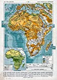 Historic Map - 1908 Afrique, Carte Physique - Vintage Wall Art - 44in x 62in