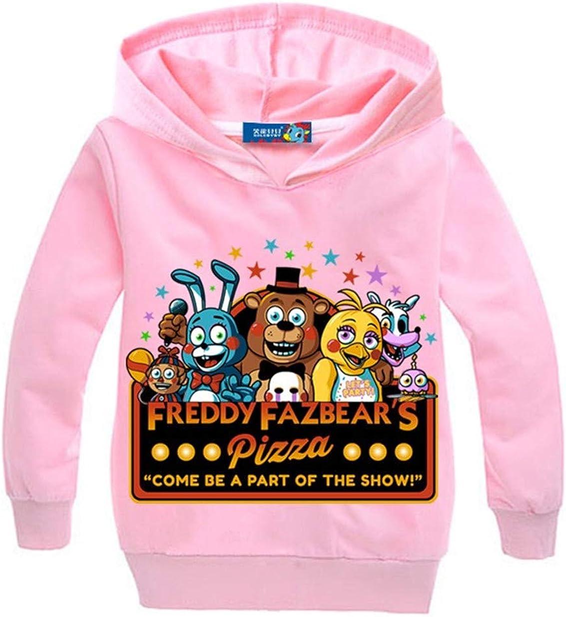 XMTIHE Kid Boy Girl Five Nights at Freddy's Long Sleeve Hoodies Sweatshirt-Cartoon Pullover Hooded Tops